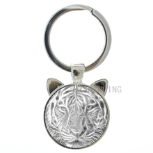 New idea design vintage tiger art ear pendant keychain glass cabochon dome wild animal tiger charms key chain ring holder CN491(China (Mainland))