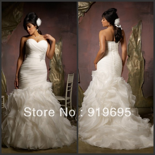 free shipping high quality off shoulder pleat beaded ruffled mermaid plus size wedding gown