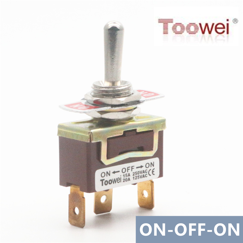 Heavy Duty 20A 125V 15A 250V DPDT 6 Term -OFF- Momentary Toggle Switch ON ON