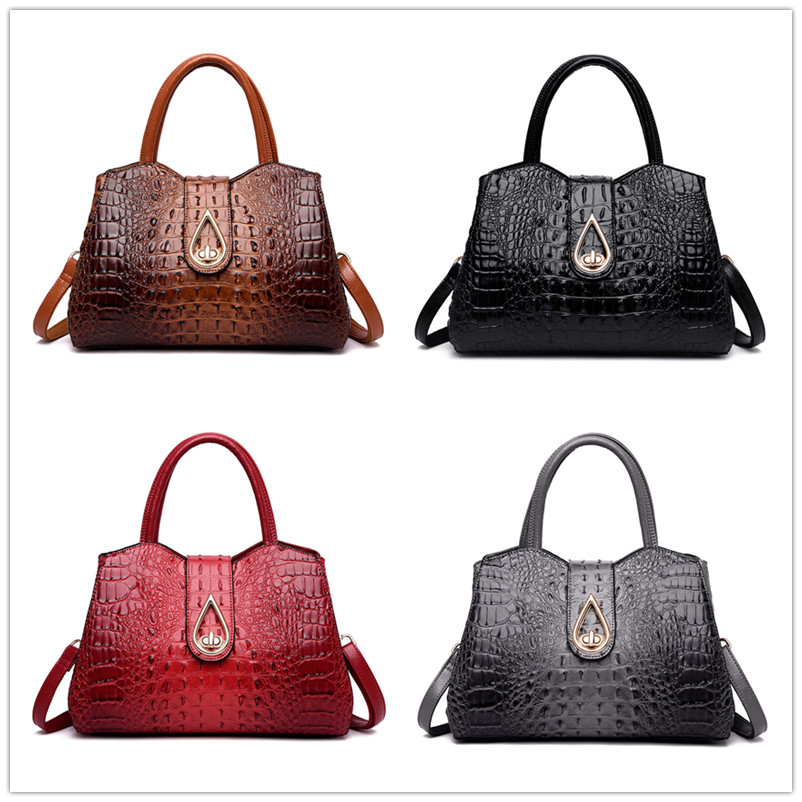 Image 5 - FLYONE Vintage Fashion Crocodile Genuine Leather Luxury Handbags Women Bags Designer Female Shoulder Bag Ladies Bolsas Feminina-in Shoulder Bags from Luggage & Bags