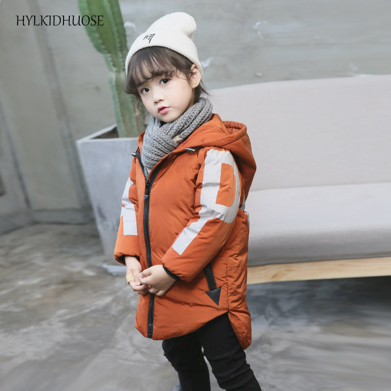 HYLKIDHUOSE 2017 Winter Baby Girls Down Coats Hooded Children Outdoor Jackets Warm Thick Kids Casual Outerwear Snow Parkas 2017 new baby girls boys winter coats jacket children down outerwear warm thick outdoor kids fur collar snow proof coat parkas