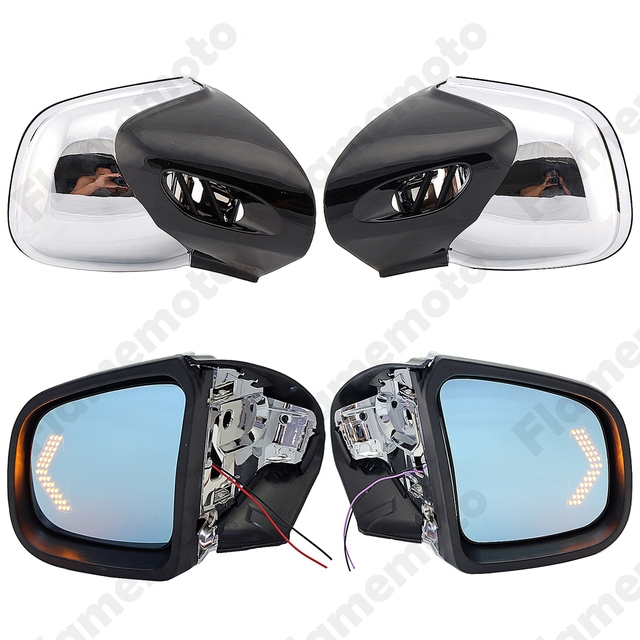 Motorcycle Accessories Chrome Rearview Mirrors LED Blinker Turn Signals Side Mirror For BMW K1200LT K1200M 1999-2008 UNDEFINED