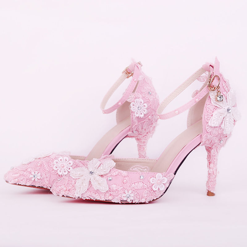 9cm High Heels Wedding Shoes Women Pumps Blue Pink Crystal Lace Flower Stiletto Buckle Strap Bridal Shoes Party Ladies Shoes цены