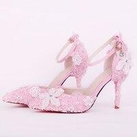 9cm High Heels Wedding Shoes Women Pumps Blue Pink Crystal Lace Flower Stiletto Buckle Strap Bridal Shoes Party Ladies Shoes