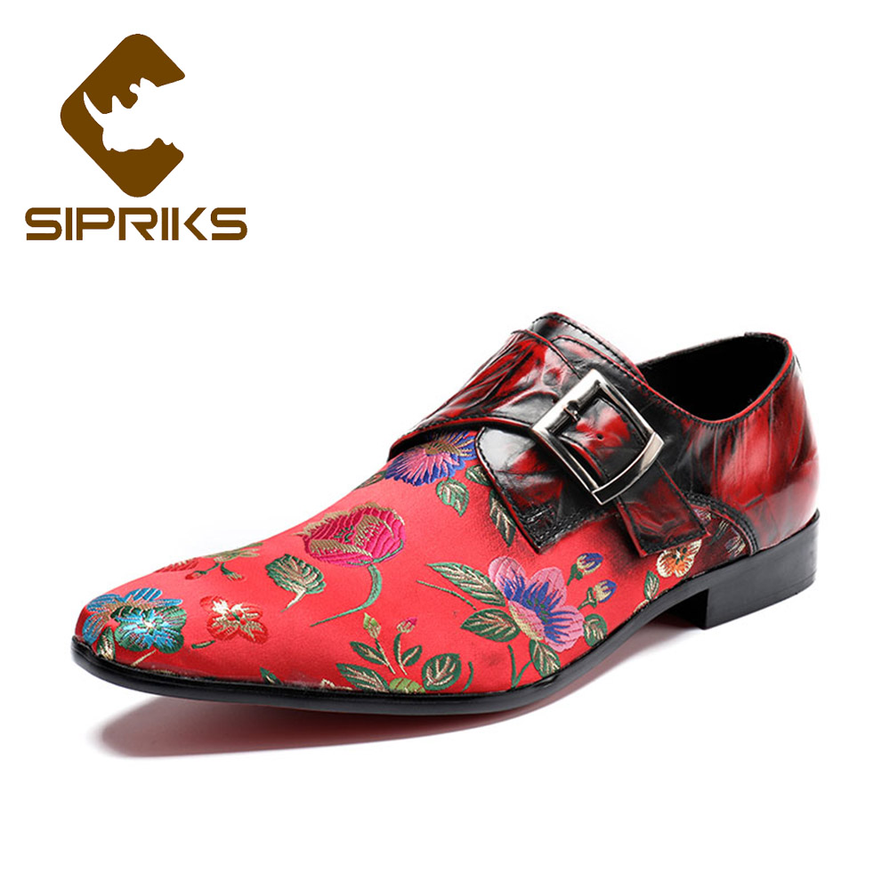 Sipriks Embroidered Flower Red Men Wedding And Party Shoes Black Dress Shoes Fashion Men s Formal