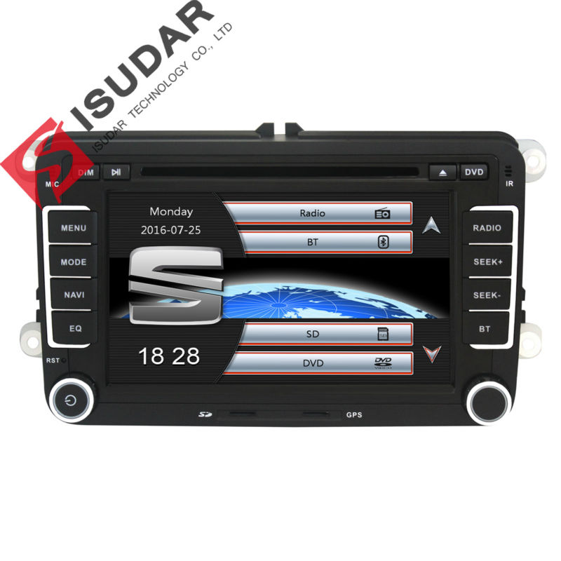 Capacitive Screen! Two Din 7 Inch Car DVD Player For Seat/Altea/Leon/Toledo/VW/Skoda Wifi 3G Host Radio FM GPS Bt 1080P Ipod Map автомобильный dvd плеер isudar 2 din 7 dvd ford mondeo s max focus 2 2008 2011 3g gps bt tv 1080p ipod