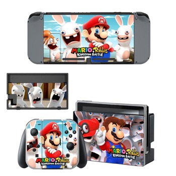 Nintend Switch Vinyl Skins Sticker For Nintendo Switch Console and Controller Skin Set - For Mario + Rabbids: Kingdom Battle