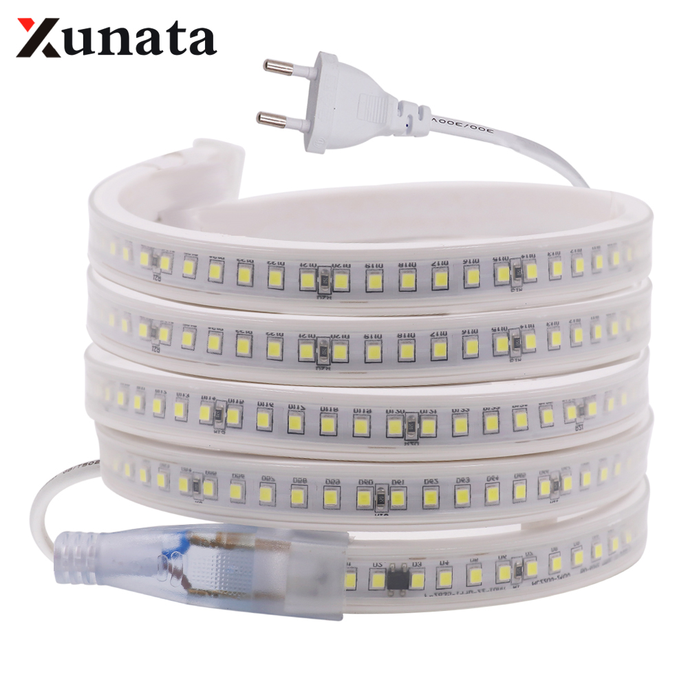 LED Strip 2835 AC 220V 144Leds/m Flexible LED Light IP65 Waterproof Super Bright 10mm LED Tape With EU Plug For Outdoor Indoor