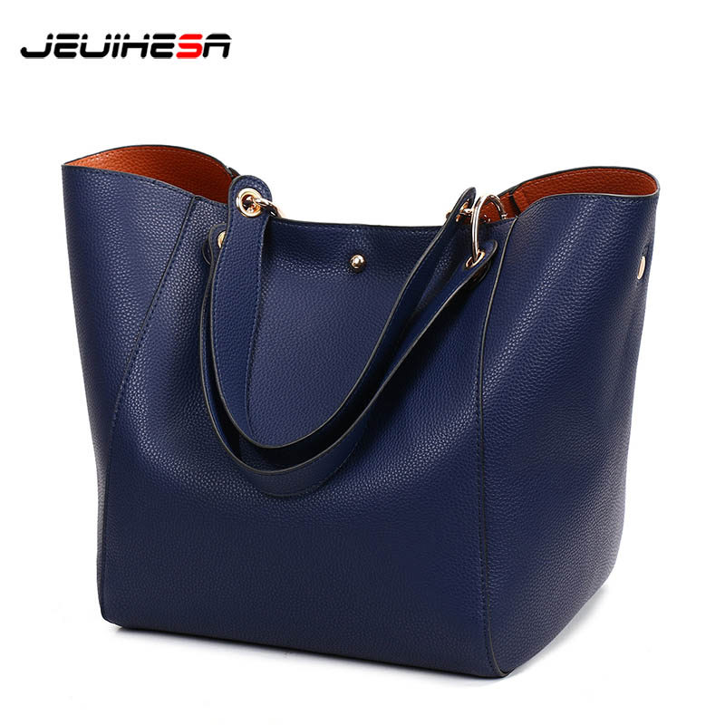 New Fashion Women Bag Handbags Leather Bags For Women 2018 Shoulder Bag Female Large Capacity Tote Ladies Shopping Bags 2 Sets women oil wax leather handbags new designer fashion ladies shoulder bag cowhide women daily bags large capacity shopping bag