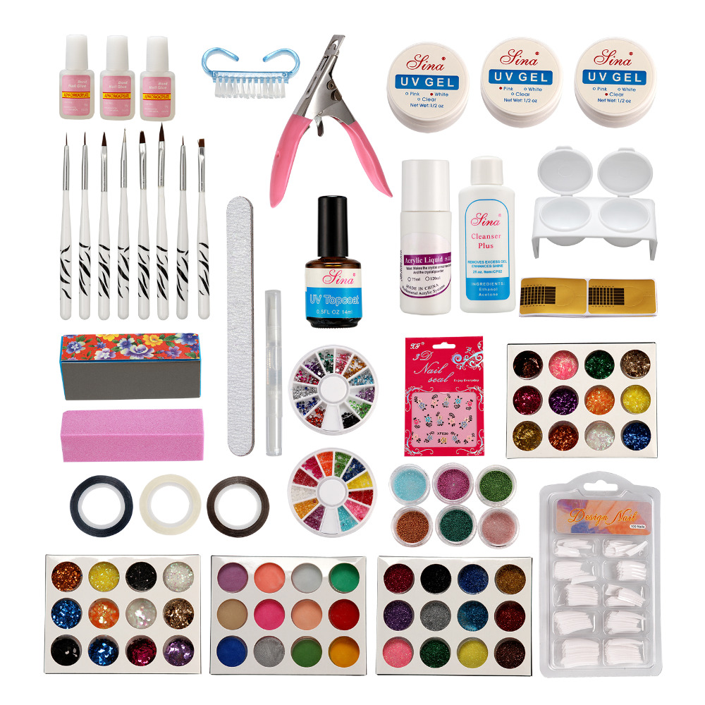 Nail Art Shimmer Set Acrylic Liquid Powder UV Gel Topcoat False Tips Glitter Kit pro starter kit nail salons kit nail art acrylic powder french tips 9w uv lamp glitter powder uv gel manicure set