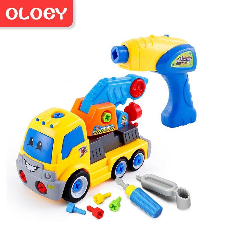 Diy Demontage Montage Speelgoed Voor Kinderen Ingenieur Vrachtwagen Auto Helicopter Trein Educatief Blokken Speelgoed Schroevendraaier Moer # Car002
