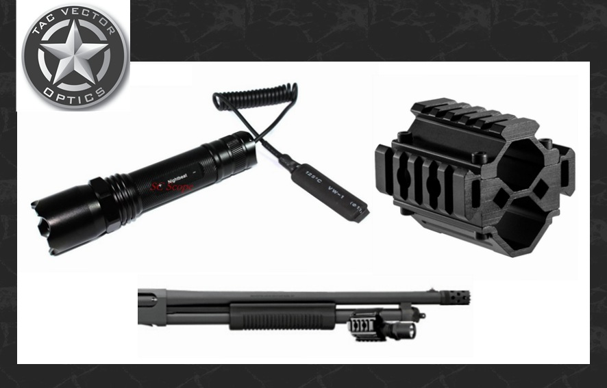 ФОТО Vector Optics Tactical Barrel Flashlight and Tri-Rail Mount Weapon Light Fit Remington Mossberg Shotgun / Paintball Accessories