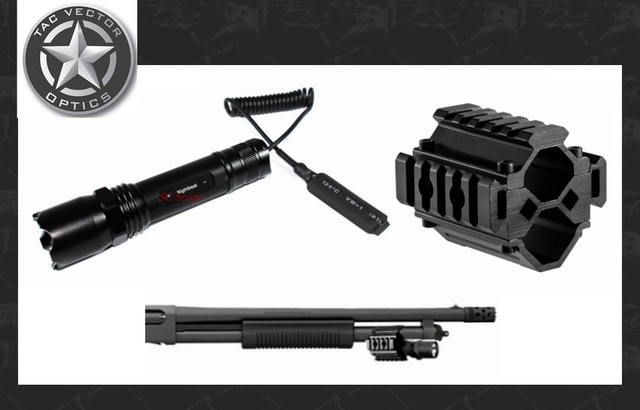 Vector Optics Tactical Barrel Flashlight And Tri Rail Mount Weapon Light  Fit Remington Mossberg Shotgun