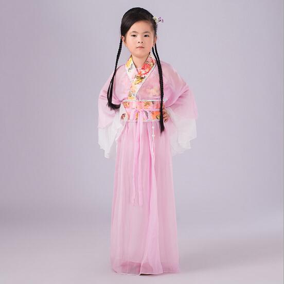 Clássico Chinês Trajes de Dança Meninas Crianças Crianças Vestido Hanfu Tang Tradicional Chinesa Antiga Traje Meninas