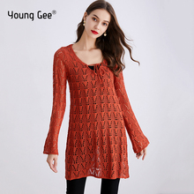 Young Gee Fashion Hollow Out Sweaters Women 2019 Autumn Casual Knit Long Tops Female High Street Chic Lace Up Pullover Jumper