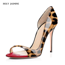 2019 New Women Shoes Platform Slingback Pumps Sexy Leopard 12CM High Heels Peep Toe Slip On Stiletto Evening Party Wedding Shoes women pumps leopard high heels women shoes slip on less platform pumps pointed toe stiletto 10 5cm high heels shoes ds a0151