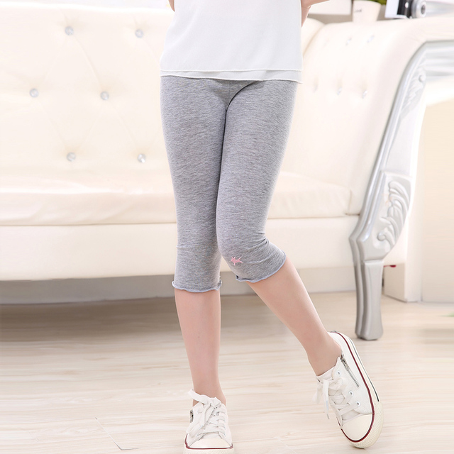 Girls pants 2016 summer new arrival candy color  girls knee length leggings kids beautiful pants chindren 3-9y trousers SCH320