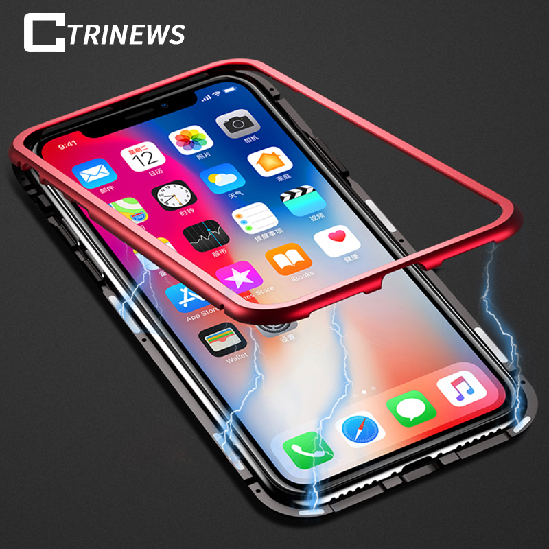 Magnetic Tempered Glass Case For iPhone X 8 7 Plus 6 Aluminum Metal Bumper For Samsung S ...
