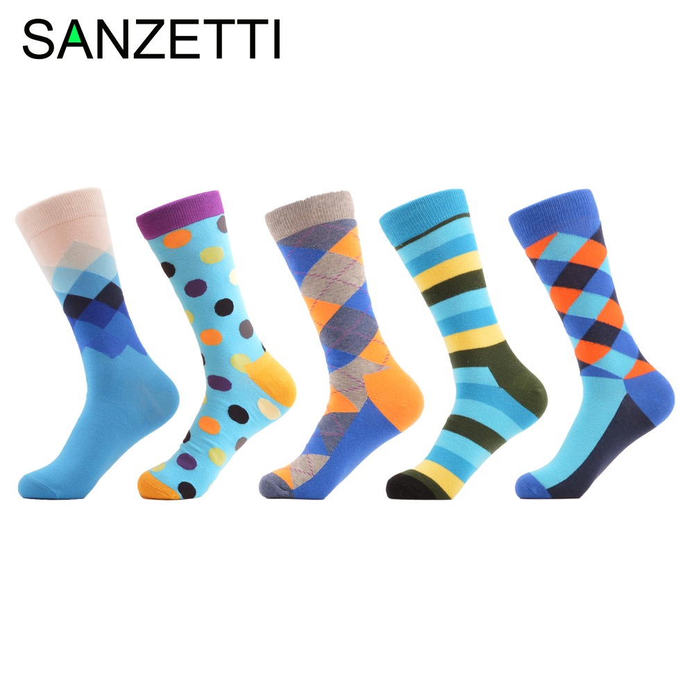 SANZETTI 5 pairs/lot Comfortable Mens Combed cotton Geometric Pattern Dress Business Socks Street Style Trendy Crew Socks