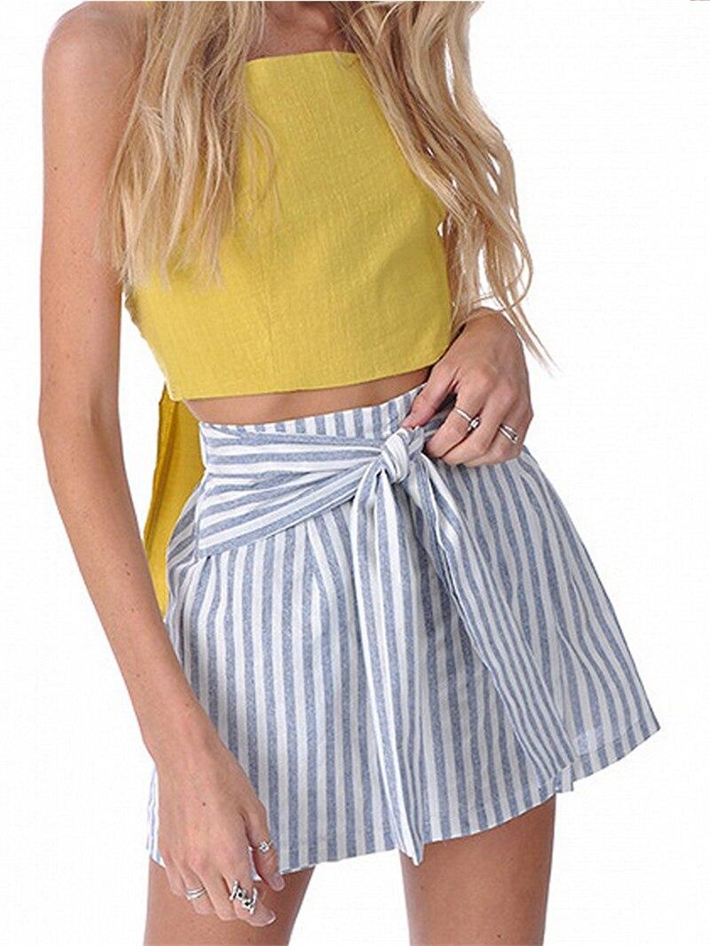 Women Girls Skater Skirt Pleated Striped A Line  skirt women summer sexy mini skirt