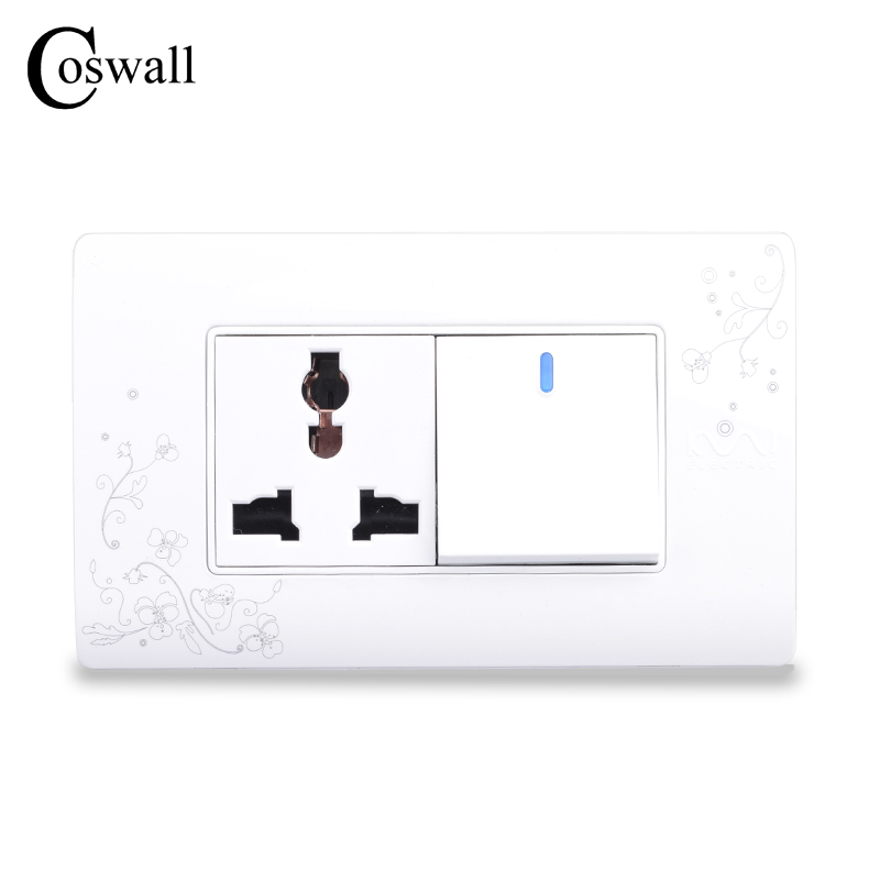 COSWALL Simple Style Universal 3 Hole Wall Power Socket Outlet With 1 Gang 2 Way Push Button Light Switch accor white five hole wall socket manufacturers 5 hole power outlet household switch socket