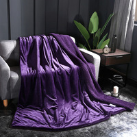 Luxurious Warm Thick Solid Color Double Lambs Nap Cover Blanket Coverlet Reversible Fuzzy All Season Plaid