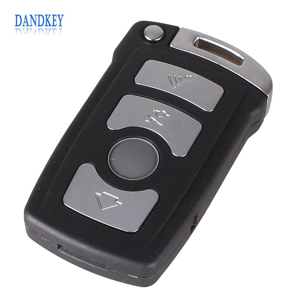 Dandkey 4 Button Fob Case For BMW 7 Series E65 E66 E67 E68 745i 745Li 750i 750Li 760i 7Remote Key With Small Key With Logo metal parking brake gear actuator repair kit for bmw e65 e66 745i 750i 760i li 40teeth