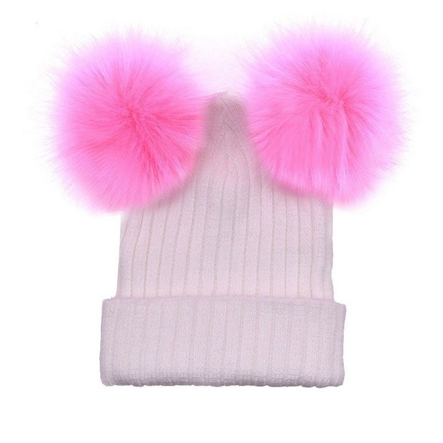 Winter Xmas Solid Color Knit Hat Crochet Wool Fur Pom Pom Women Knit Warm Knitting Hats Fashion Christmas Gift Outdoor Wear Hats