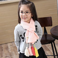 Autumn and winter new children's cotton scarf soft tassel baby collar Pure color wild girl scarf
