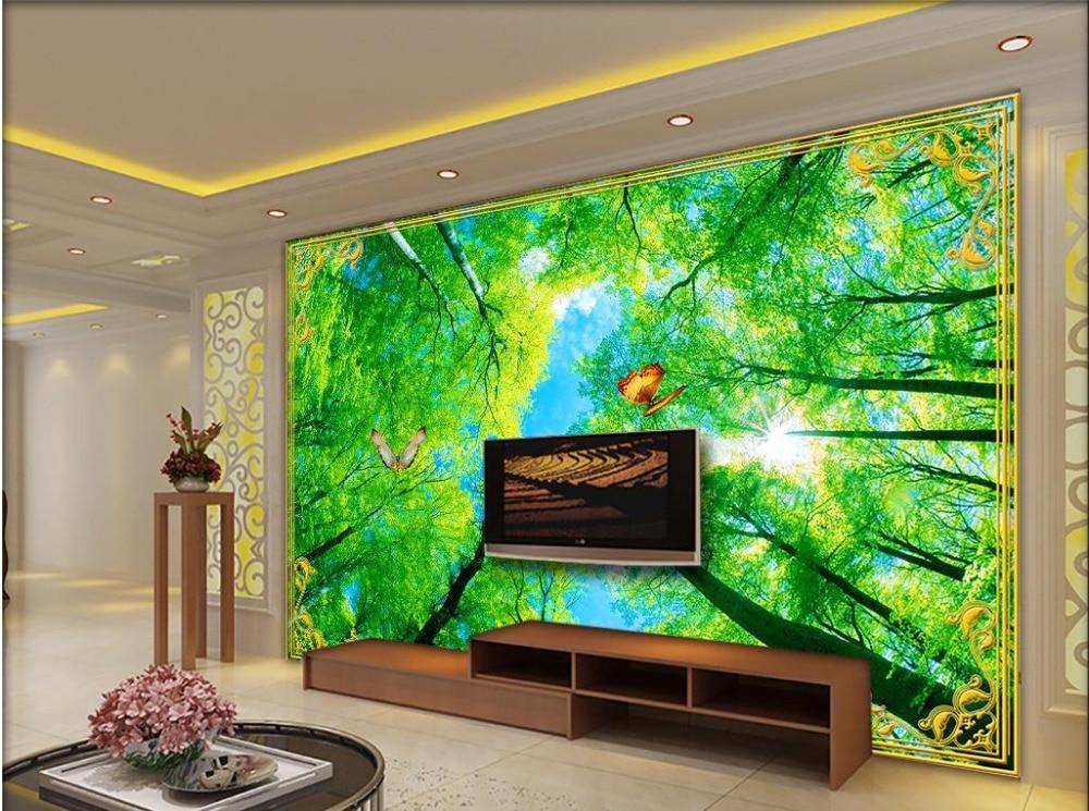 online get cheap photo wallpaper green trees -aliexpress