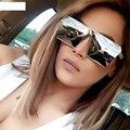 2016 Nova Praça óculos de sol Frescos homens mulheres Flat Top Espelho Óculos de sol Lady Óculos de Metal Cheia Grande de Grandes Dimensões de Tamanho Feminino WGS