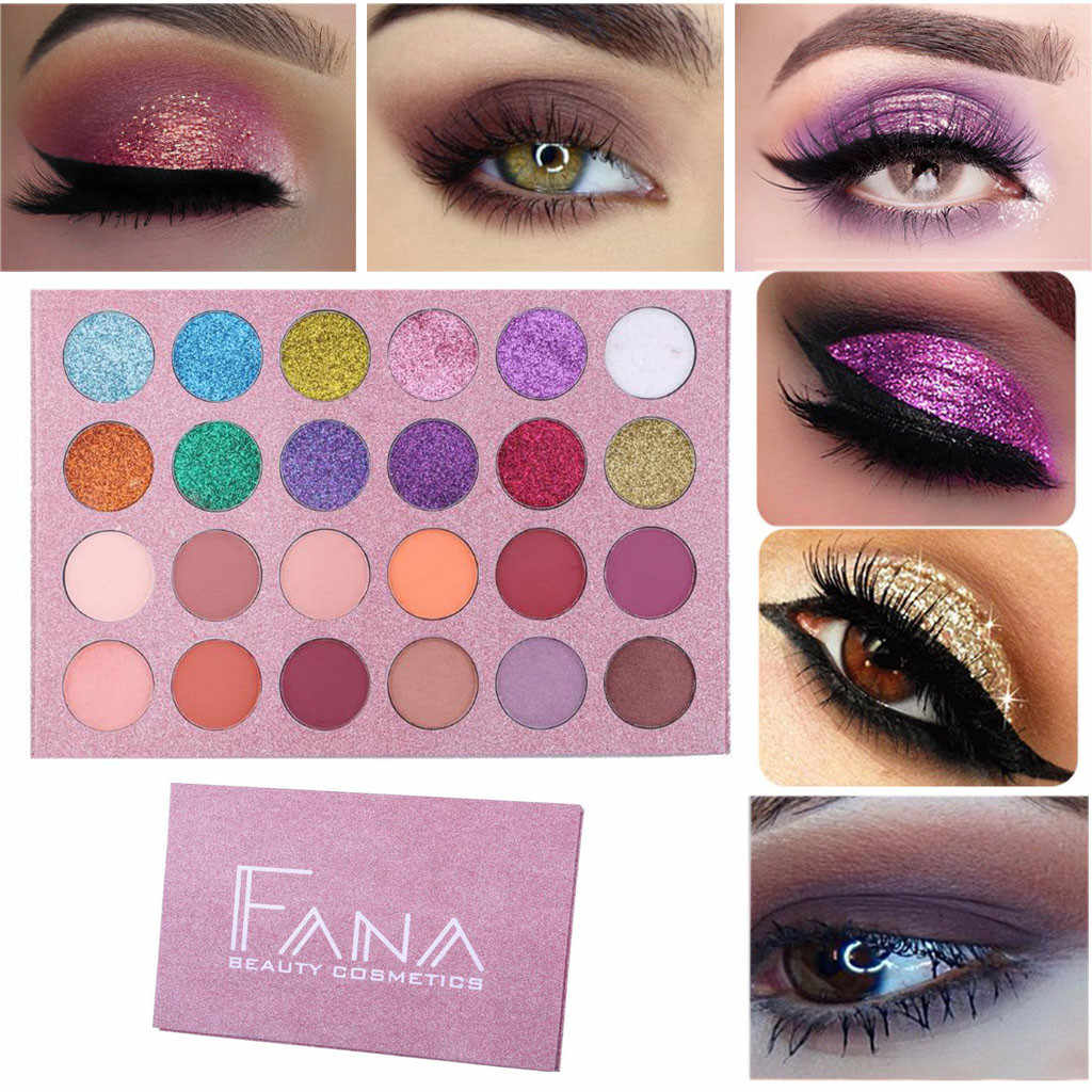 Fashion 24 Warna Berkedip Mutiara Eye Shadow Makeup Palet Tahan Lama Matte Eyeshadow Tidak Berbunga Harian Partai # LR4