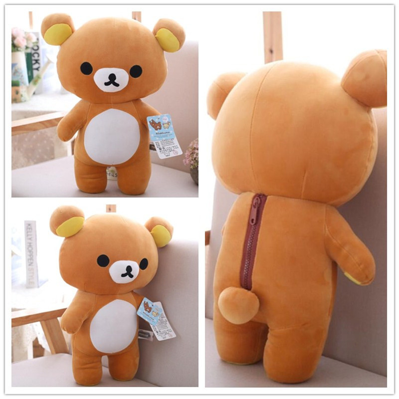 35cm-60cm Hot Selling Kawaii Big Size Brown Rilakkuma Bear Plush Toy Soft Stuffed Bear Doll