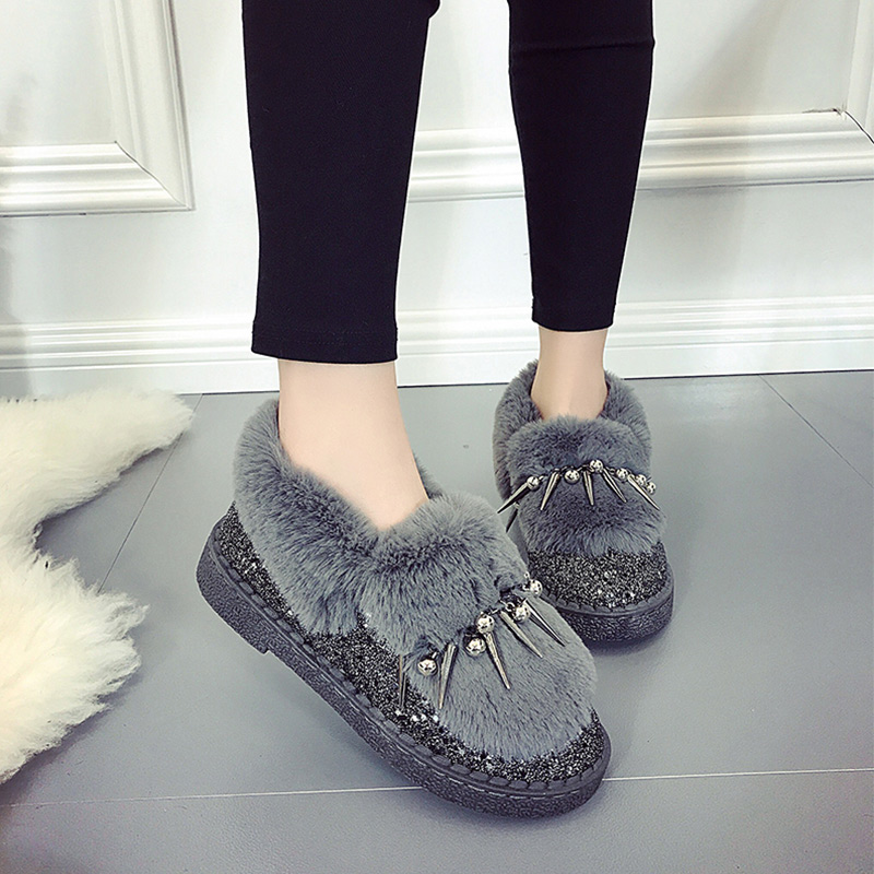 Slip gray Zapatos Metal Remache Nieve On Señoras Mujer Más Black Calientes Mujeres Felpa Calzado Invierno Del Bling Botas Confort Suede Moda De B1aqzxn6
