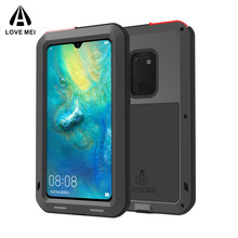 Para Huawei P30 Pro Lite Original Lovemei Metal de aluminio + Gorilla Glass choque gota funda impermeable para HUAWEI Mate 20 pro/8/9(China)