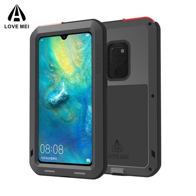 עבור Huawei P30 פרו לייט מקורי Lovemei אלומיניום מתכת + זכוכית גורילה הלם זרוק עמיד למים מקרה עבור HUAWEI Mate 20 פרו/8 9