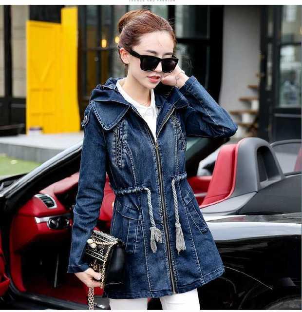 4d3d1b4909e5 2015 New Women Autumn Denim Jacket Women Winter Slim Yarn Zipper Pockets  Long Sleeve Cotton Denim Outerwear Jeans Coats H4677