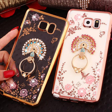 Bling Finger Ring Holder Stand Phone Cases For Samsung Galaxy S8 S7 S6 Edge Plus Capa For iPhone 5 5s 6 6s 7 Plus Soft TPU Cover mercury goospery i jelly finger ring kickstand tpu shell for iphone 7 plus 5 5 red