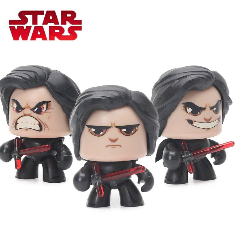 9 cm Star Wars Darth Vader Brinquedo Mudança Rosto Poderoso Muggs Kylo Ren PVC Figuras de Ação Da Princesa Léia Luke Skywalker Figura modelo