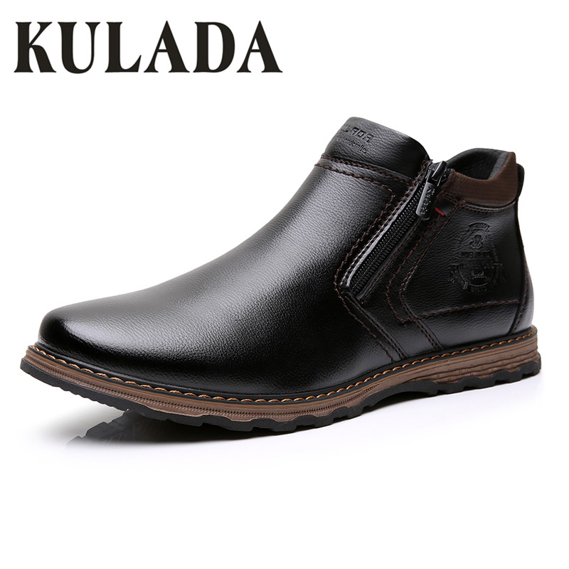 KULADA 2019 Men's Ankle Boots Leather Comfortable Spring&Autumn Warm Waterproof Fashion Men Casual Lace-up Shoes
