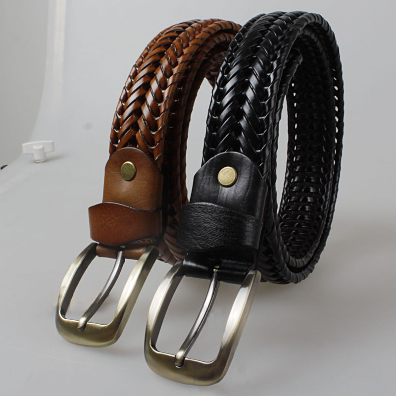New Weaving design leather belts for men Single needle buckle 2colors Woven genuine strap handmade cowskin