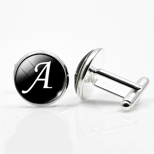 White on Black Silver Plated Letters A-M Wedding Cufflinks for Men
