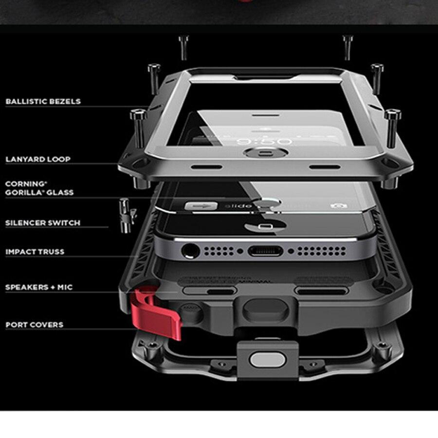 imágenes para Lujo Doom armor Choque Dirt Intemperie 4 prueba de aleación de Metal celular caja del teléfono Para el iphone 4/4S 5/5S/SE 6/6 s 6 Plus + Templado vidrio