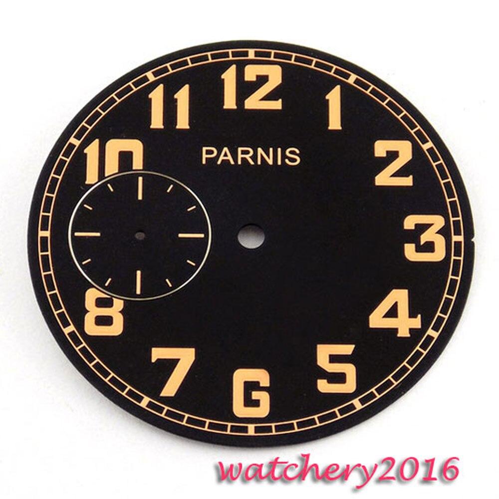 40.6mm black dial orange marks fit ETA 6497 movement Mens Watch dial