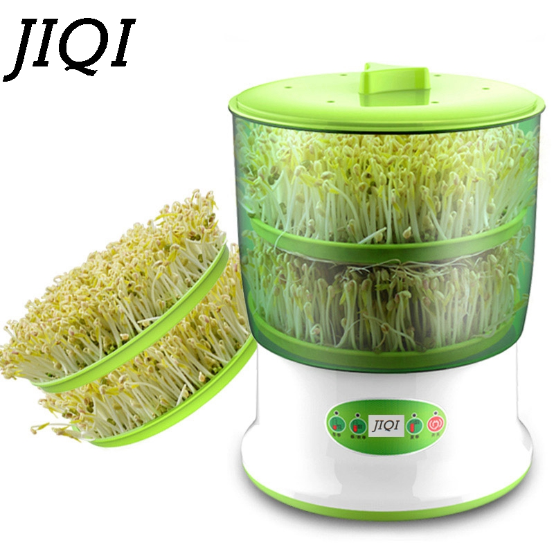 JIQI Home Use Intelligence Bean Sprouts Machine Large Capacity Thermostat Green Seeds Growing Automatic Bean Sprout Machine EU bean sprout machine germination intelligence home double layer nursery pots automatic bean sprouts machine kitchen electrical