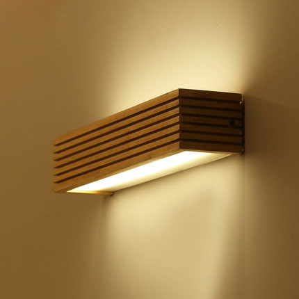 US $43.4 38% OFF|Modern Japanese Style Led Lamp Oak wooden Wall Lamp Lights  Sconce for Bedroom Home Wall Sconce solid wood wall light 45cm-in LED ...