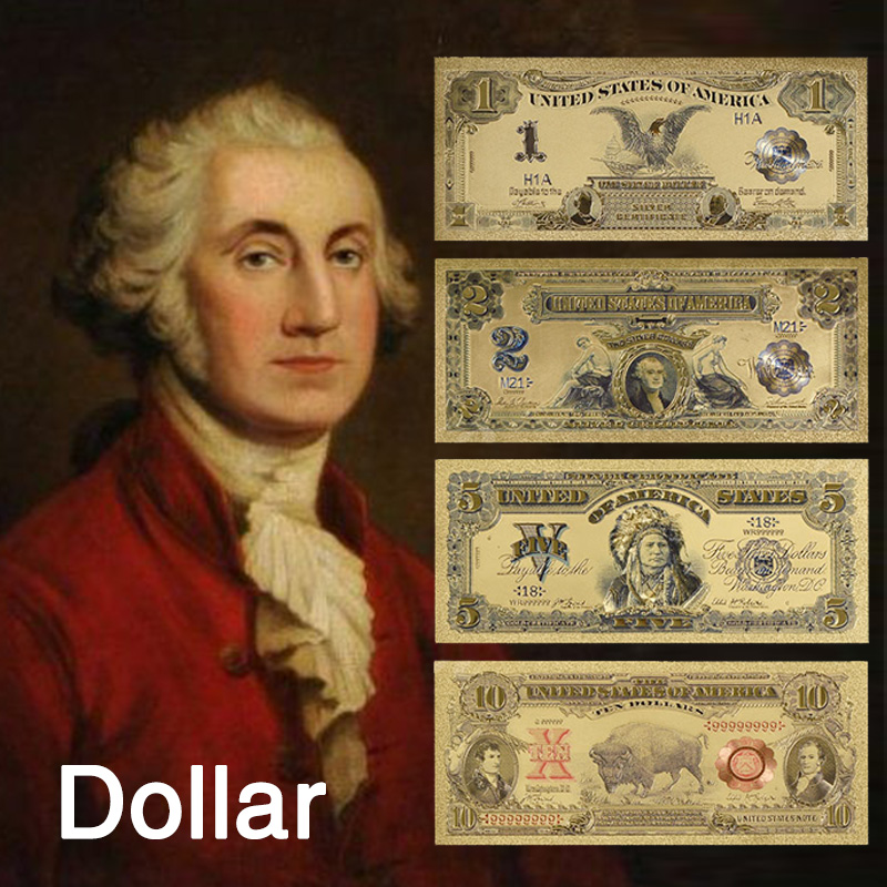 24k Colour Gold Banknote Rare America Set 1899&1901 Edition Paper Money Plated Colour Gold Paper Collection Business Gift