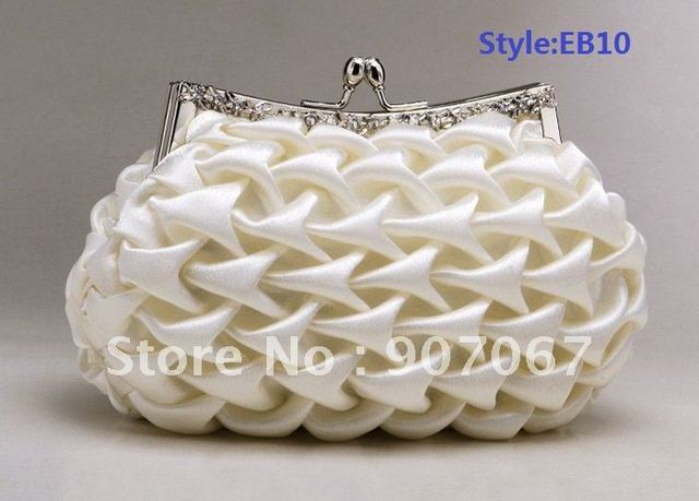 Free shipping! Pretty Ivory Satin Clutch Bag/Evening Bags/Party Bags