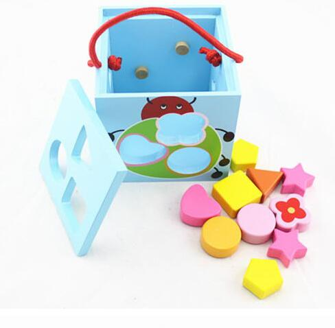 12*12*12cm Green Pink Blue 3 Colors Children Blocks Box Geometry Shape Matching Wooden Baby Kids Toys Early Educational Block 12