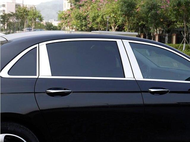8 unids/set de moldura de pilar de ventana de aluminio pulido para Mercedes Benz W213 Clase E 4 puerta sedán AMG 2016 2017